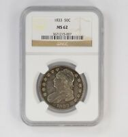 MINT STATE 62 1833 CAPPED BUST HALF DOLLAR - NGC GRADED 6399