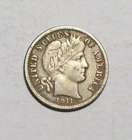 1911-D  BARBER DIME  SHARP EXTRA FINE    FREE U.S. SHIP 35 B13