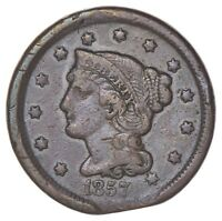 1857 BRAIDED HAIR LARGE CENT - CIRCULATED 7002