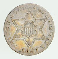 1857 SILVER THREE-CENT PIECE - CIRCULATED 7495