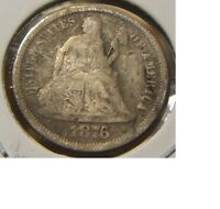 1876-SSEATED LIBERTY DIMESILVERBETTER DATEVG