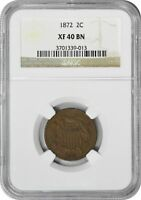 1872 TWO CENT PIECE EXTRA FINE 40BN NGC