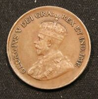 1929 CANADA SMALL 1 CENT COIN. HIGHER GRADE KING GEORGE V.