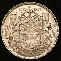 1939 CANADA SILVER 50 CENTS. BETTER DATE HIGH GRADE COIN KING GEORGE VI
