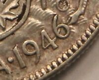 1946 CANADA SILVER 50 CENTS   ERROR LINE IN 6. UNLISTED VARIETY? 99C