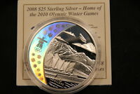 2008 CANADA $25 STERLING SILVER HOLOGRAM HOME OF OLYMPICS COIN. 28 GRAMS W COA