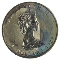 TONED 1989 CANADIAN $5 MAPLE LEAF 1 T OZ. SILVER COIN  .9999