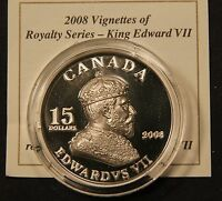 2008 CANADA $15 SILVER 'EDWARD VII' VIGNETTES OF ROYALTY ULTRA HIGH RELIEF COIN