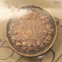 1910 CANADA SILVER 5 CENT. ROUND LEAVES BOW TIE. AU 55 ICCS.  TYPE BV $460