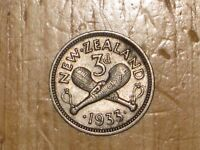 NEW ZEALAND 1933 SILVER THREEPENCE COIN FINE NICE