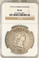 1795 FLOWING HAIR SILVER DOLLAR NGC EXTRA FINE 45 CERTIFIED $1 COIN JY654