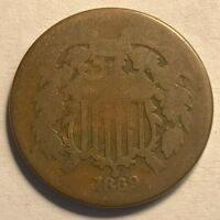 USA - TWO CENTS - 1869 - ABOUT GOOD - HOLE FILLER/POCKET PIECE - SHIPS FREE