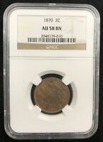 1870 NGC AU 58 BN BROWN 2C TWO CENT COPPER