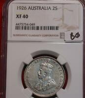 1926 AUSTRALIA TWO SHILLING SILVER COIN NGC GRADED XF 40