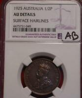 1925 AUSTRALIA 1/2 PENNY COIN NGC GRADED AU DETAILS SURFACE