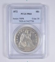PR61 1872 SEATED LIBERTY SILVER DOLLAR - PCGS GRADED 6437