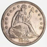 1860-O SEATED LIBERTY SILVER DOLLAR - NEAR UNCIRCULATED 2409