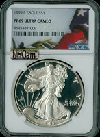 1999-P SILVER EAGLE FLAG NGC MAC PF69 ULTRA HEAVY CAM 2ND FINEST SPOTLESS