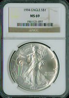 1994 SILVER EAGLE 1-OZ DOLLAR NGC MINT STATE 69 2ND FINEST REGISTRY