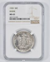 MINT STATE 63 1920 MAINE COMMEMORATIVE HALF DOLLAR - NGC GRADED 1775