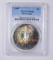 MINT STATE 68 1987 AMERICAN SILVER EAGLE - PCGS TONED 6473