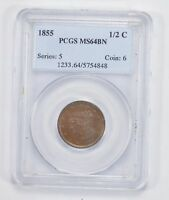MINT STATE 64BN 1855 BRAIDED HAIR HALF CENT - PCGS GRADED 1990
