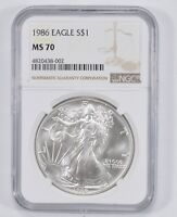 MS70 1986 AMERICAN SILVER EAGLE - NGC GRADED 1795