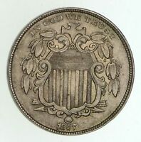 1867 SHIELD NICKEL - WITHOUT RAYS - RPD F-26 CIRCULATED 4996