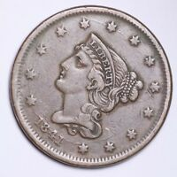 1841 BRAIDED HAIR LARGE CENT CHOICE EXTRA FINE  SHIPS FREE E115 UBT