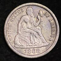 1868 SEATED LIBERTY DIME CHOICE VF SHIPS FREE E295 ACF