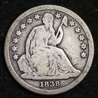1838 SEATED LIBERTY DIME CHOICE FINE SHIPS FREE E276 ACM