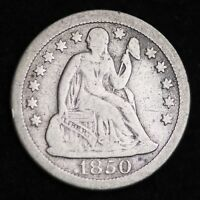 1850-O SEATED LIBERTY DIME CHOICE FINE SHIPS FREE E280 JHM