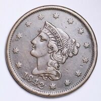 1842 BRAIDED HAIR LARGE CENT CHOICE EXTRA FINE  SHIPS FREE E118 KNM