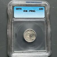 1870 10C SEATED LIBERTY DIME PROOF, ICG PR61 34639