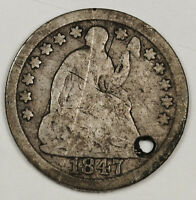 1847 LIBERTY SEATED HALF DIME.  HOLED DETAIL.   128493