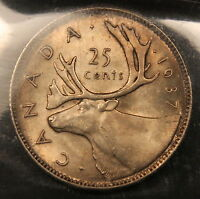 1937 CANADA SILVER 25 CENTS MS 65 ICCS GEM UNCIRCULATED TONED WITH SATIN LUSTRE