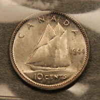 1944 CANADA SILVER 10 CENTS ICCS MS 65 GEM UNCIRCULATED