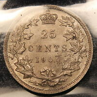 1900 CANADA SILVER 25 CENTS ICCS MS 62 UNCIRCULATED QUEEN VICTORIA COIN
