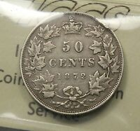 1872 H CANADA SILVER 50 CENTS ICCS F 12. INVERTED A/V VARIETY .