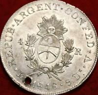 1846 ARGENTINA RIOJO PROV. 4 REALES SILVER FOREIGN COIN