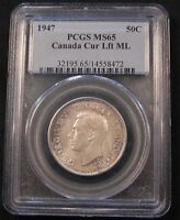 1947ML CANADA SILVER 50 CENTS PCGS MS65 GEM. POP 4/1. MAPLE LEAF TYPE.