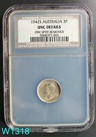 AUSTRALIA 3 PENCE 1942-S NCS UNC DETAILS TONED 92.5 SILVER COIN