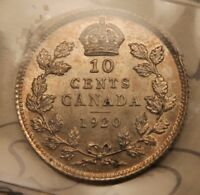 1920 CANADA SILVER 10 CENTS MS 62 ICCS CHOICE UNCIRCULATED.