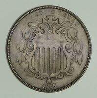 1866 SHIELD NICKEL - WITH RAYS - CIRCULATED 9631