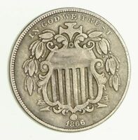 1866 SHIELD NICKEL - WITH RAYS - CIRCULATED 2972