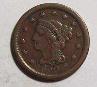 1850 BRAIDED HAIR LARGE CENT  CHOCOLATE BROWN FINE FREE U.S. SHIP 14 B24