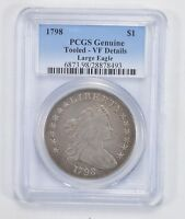 VF DETAILS 1798 DRAPED BUST SILVER DOLLAR - LARGE EAGLE - PCGS 2060