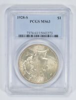 MINT STATE 63 1928-S PEACE SILVER DOLLAR - PCGS GRADED 9161
