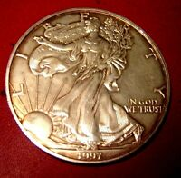 1997 AMERICAN SILVER EAGLE LY TONED 1 TROY OZ OF PURE SILVER