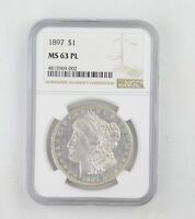 MINT STATE 63PL 1897 MORGAN SILVER DOLLAR - NGC GRADED 0223